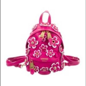 """Moschino """"Flower Power"""" Fuchsia Leather Backpack"""